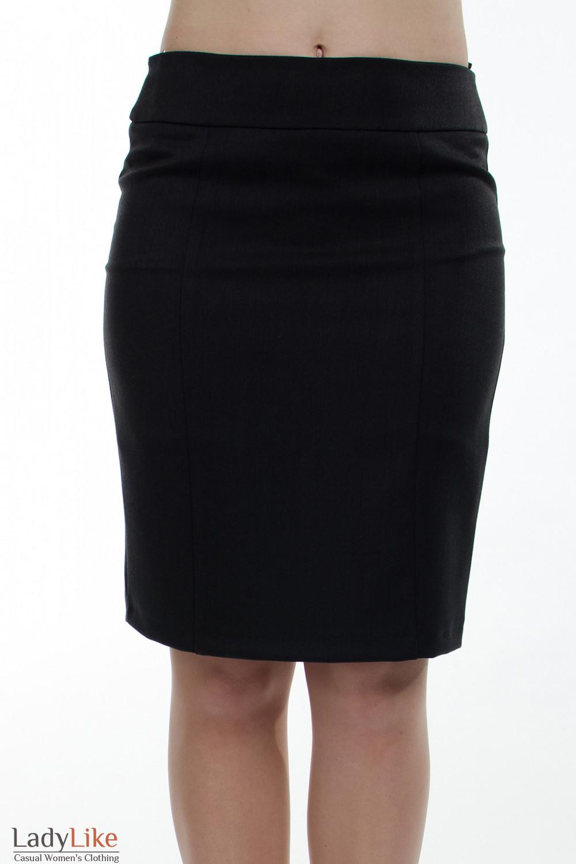Юбка теплая темно-серая вид спереди Деловая женская одежда