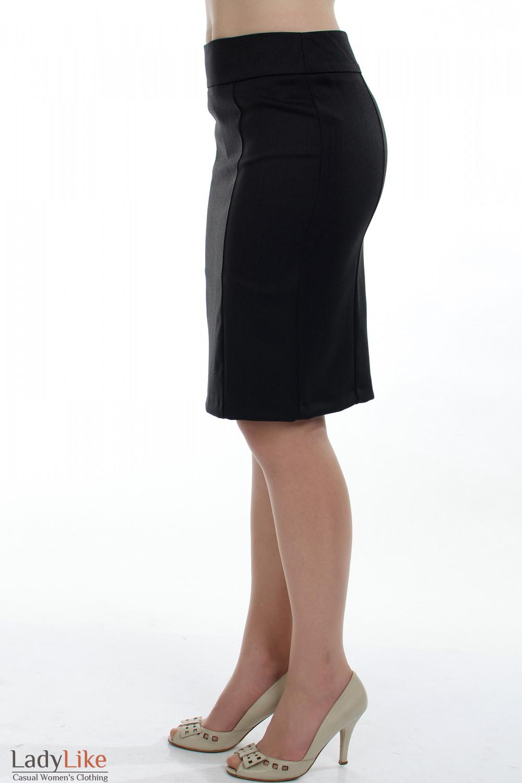 Юбка теплая темно-серая вид сбоку Деловая женская одежда