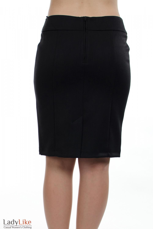 Юбка теплая темно-серая вид сзади Деловая женская одежда