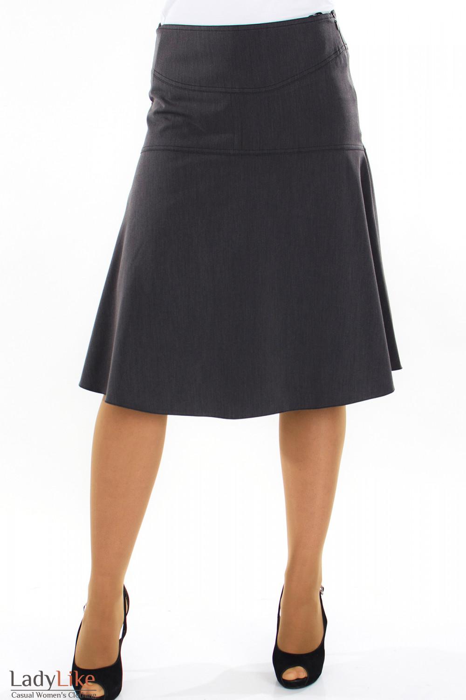 Юбка трапеция серая вид спереди Деловая женская одежда