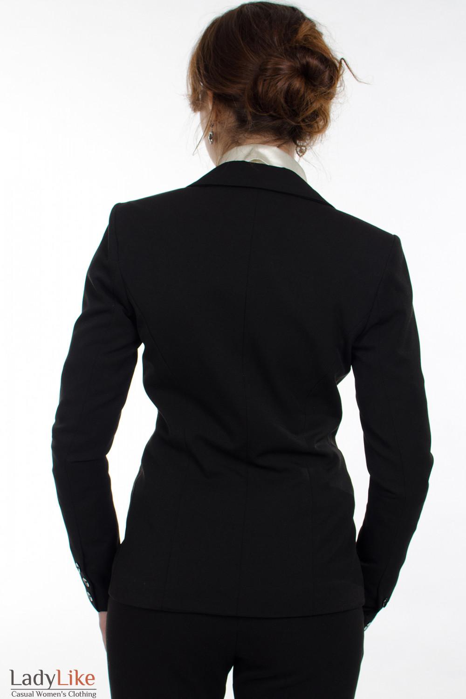 Жакет черный с одной пуговицей вид сзади Деловая женская одежда
