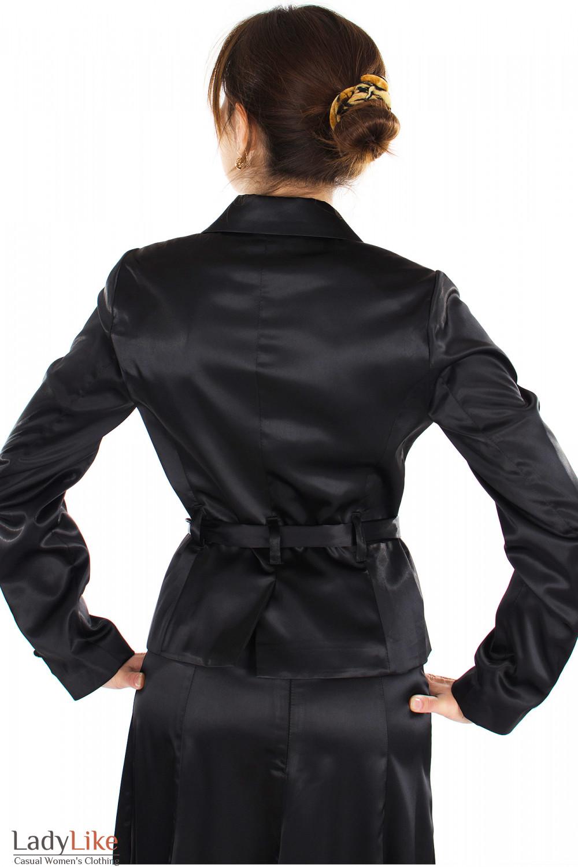 Жакет черный с поясом вид сзади Деловая женская одежда