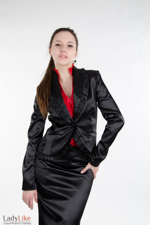 Жакет черный с рюшами Деловая женская одежда