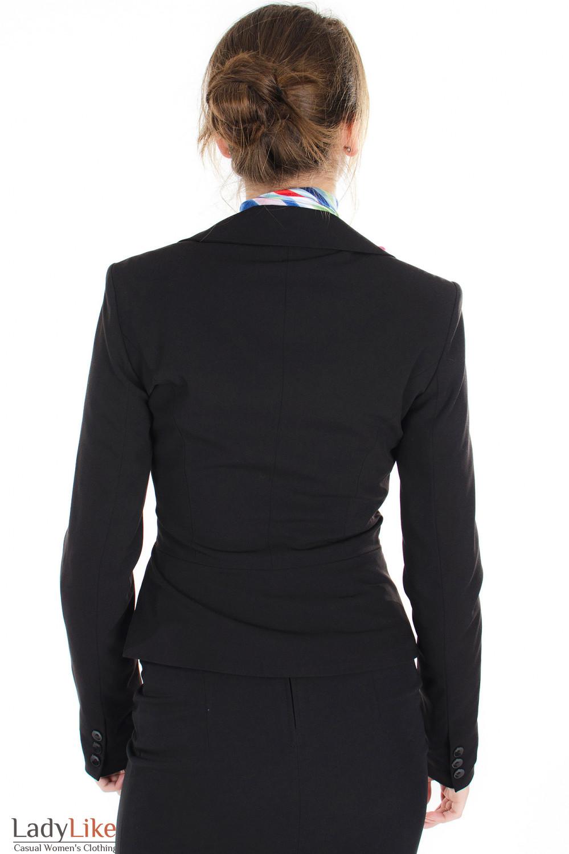 Жакет черный стильный вид сзади Деловая женская одежда