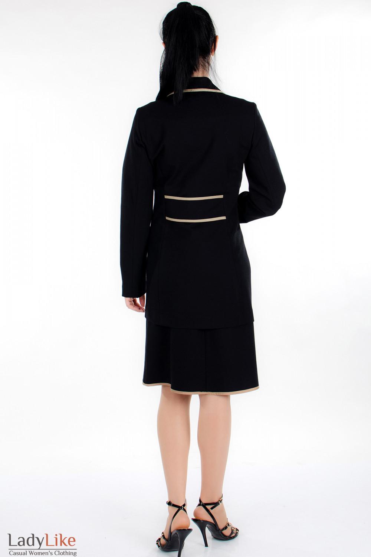 Жакет черный трикотажный вид сзади Деловая женская одежда