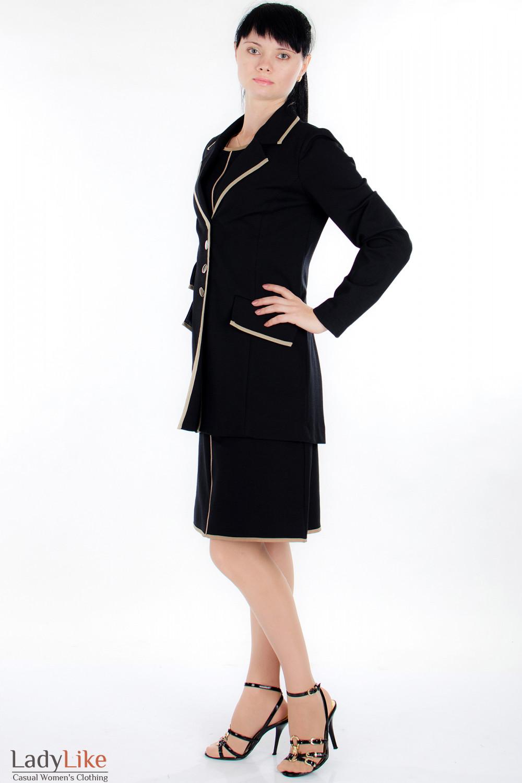 Жакет черный трикотажный вид сбоку Деловая женская одежда