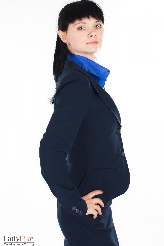Жакет классический синий вид сбоку Деловая женская одежда
