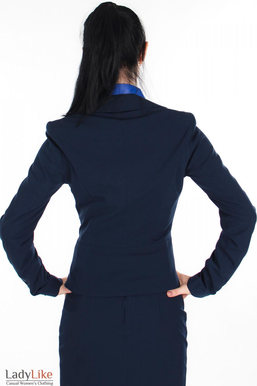 Жакет классический синий вид сзади Деловая женская одежда