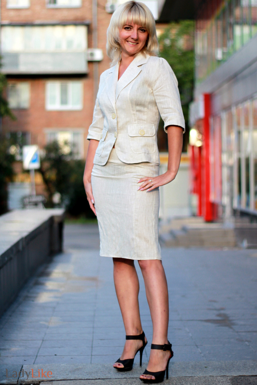 Жакет льняной бежевый 2 Деловая женская одежда