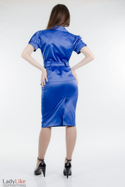 Жакет с поясом индиго Деловая женская одежда