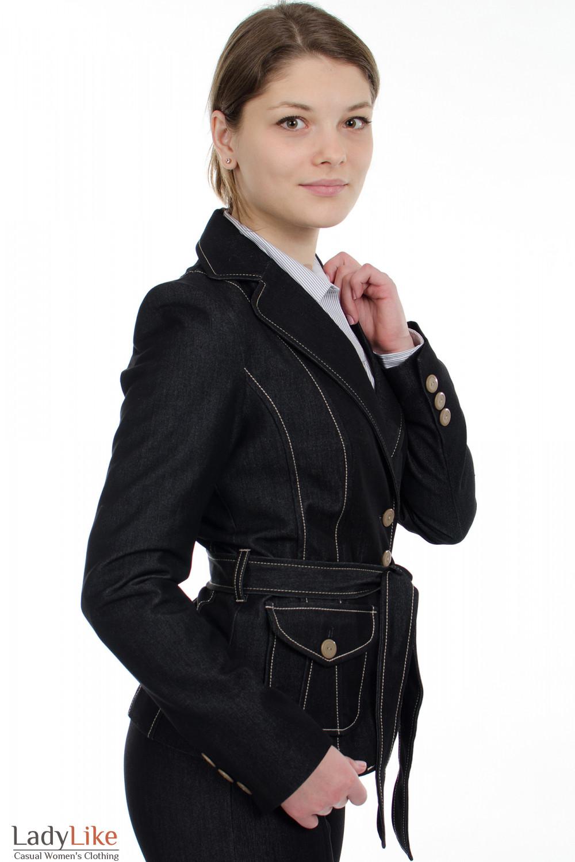"""Жакет с поясом """"Джинс"""" вид сбоку Деловая женская одежда"""
