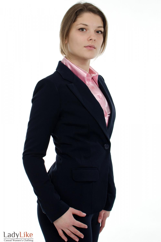 Жакет синий с одной пуговицей вид сбоку Деловая женская одежда