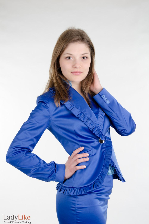 Жакет синий с рюшами Деловая женская одежда