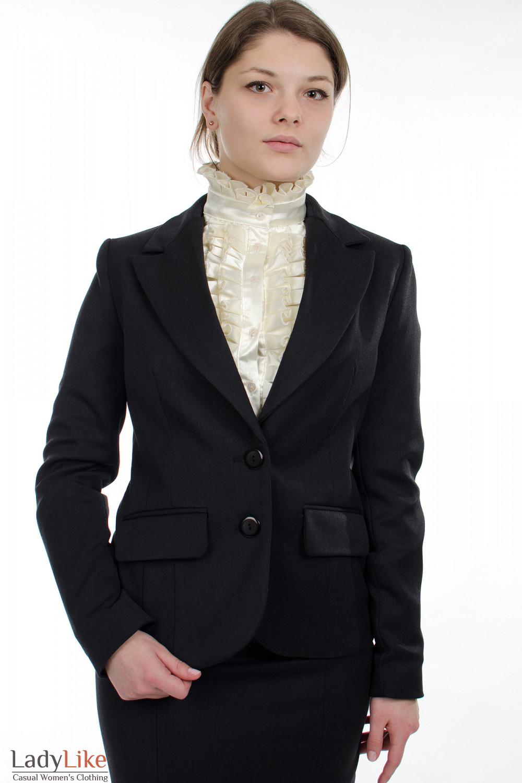 Жакет теплый темно-серый Деловая женская одежда