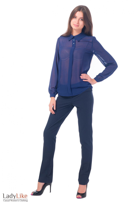 Купить женские брюки синие длиной 7/8 Деловая женская одежда