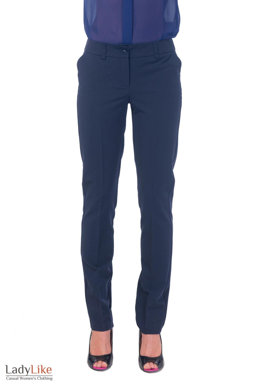 Брюки синие длиной 7/8 Деловая женская одежда
