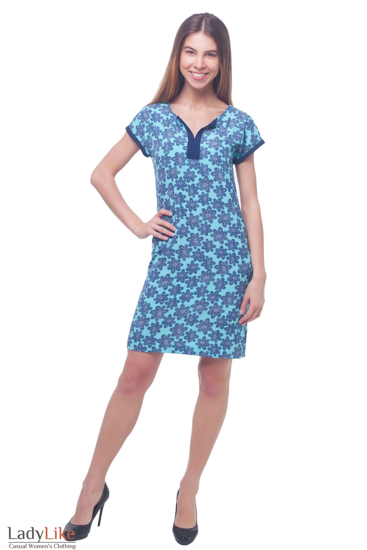 Купить платье летнее голубое в темно-синие цветы Деловая женская одежда