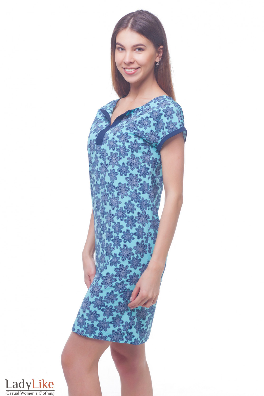 Купить платье голубое в темно-синие цветы  Деловая женская одежда