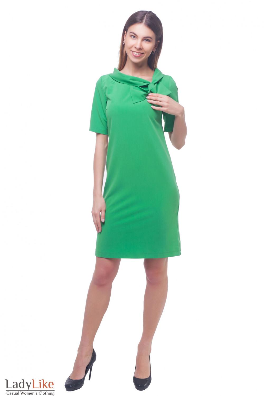 Купить платье зеленое с бантом Деловая женская одежда