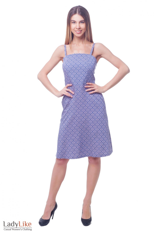 Купить джинсовый сарафан на тонких бретелях Деловая женская одежда