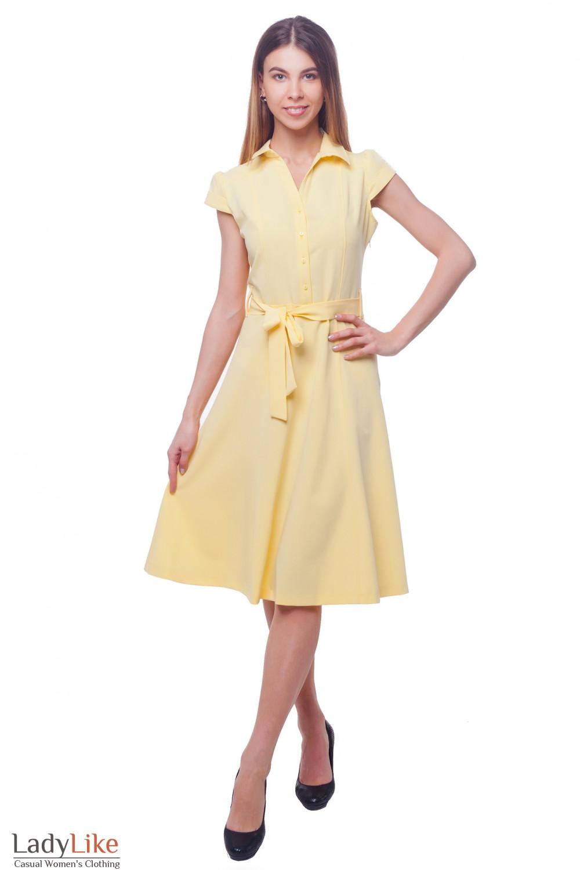 Купить платье миди желтое с коротким рукавом Деловая женская одежда