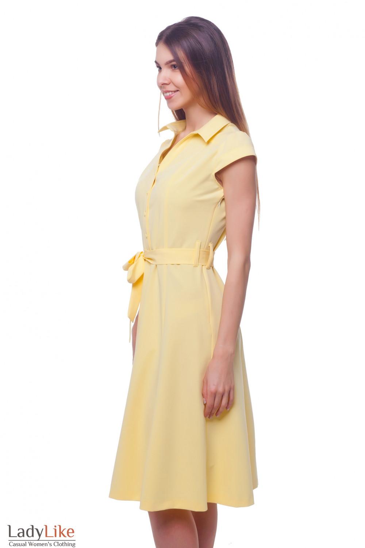 Купить желтое платье с юбкой миди  Деловая женская одежда