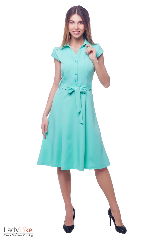 Купить бирюзовое платье с юбкой миди Деловая женская одежда