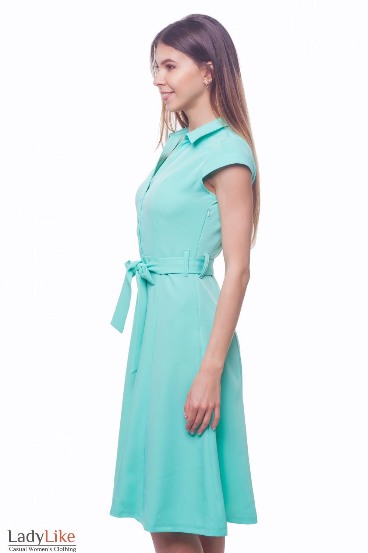 Купить платье бирюзовое с пуговицами впереди Деловая женская одежда