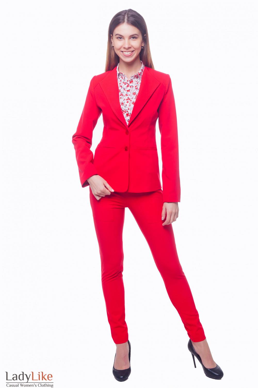 Купить яркий красный костюм Деловая женская одежда