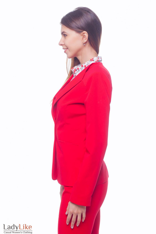 Купить жакет красный с латкой на плече Деловая женская одежда