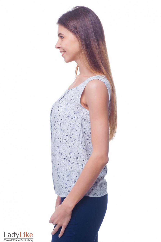 Купить топ белый в синие лепестки Деловая женская одежда фото