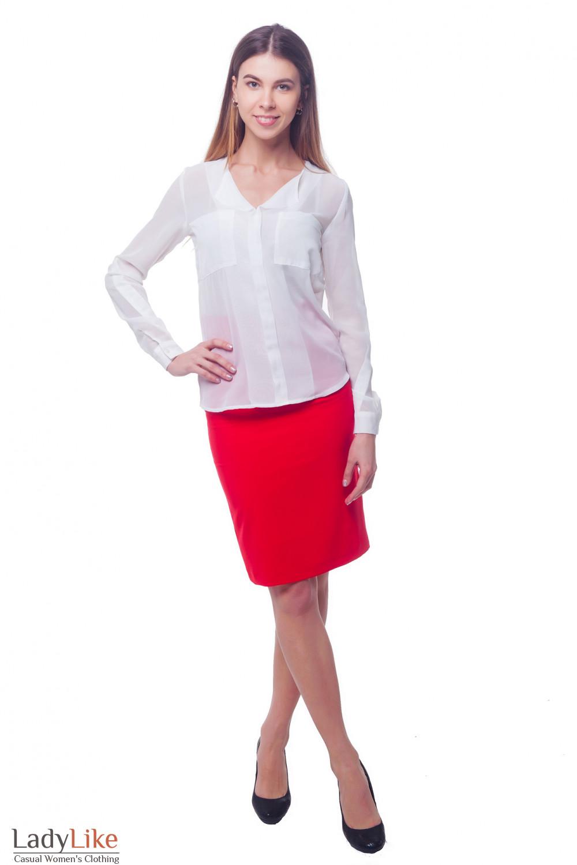 Купить красную юбку с высокой талией и карманами Деловая женская одежда фото