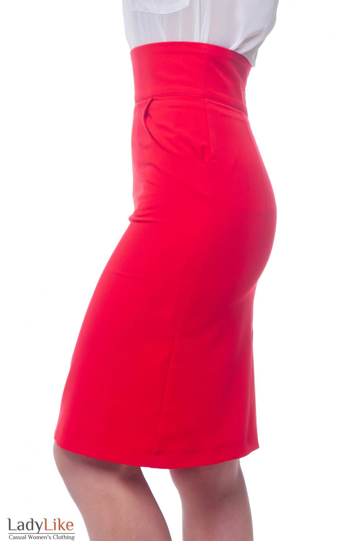 Купить красную юбку с высокой талией Деловая женская одежда фото