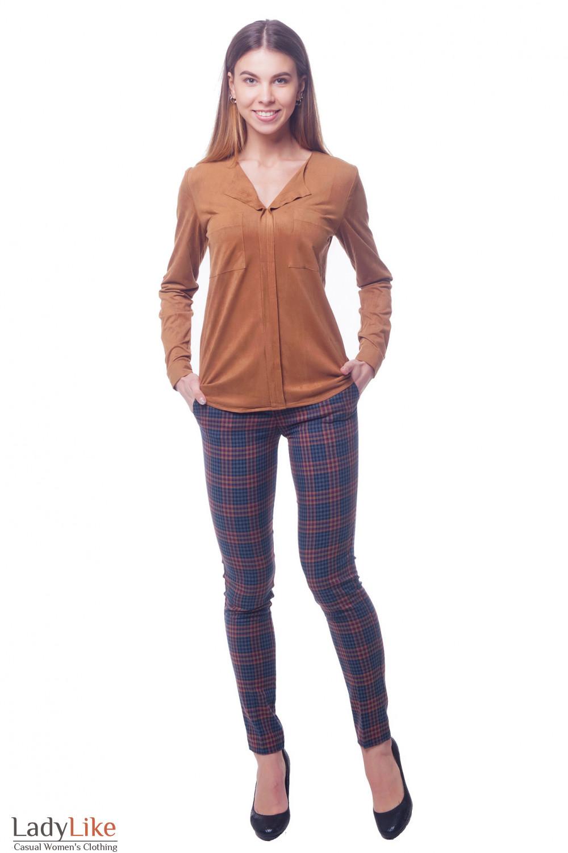 Купить стильные брюки в сине-красную полоску Деловая женская одежда