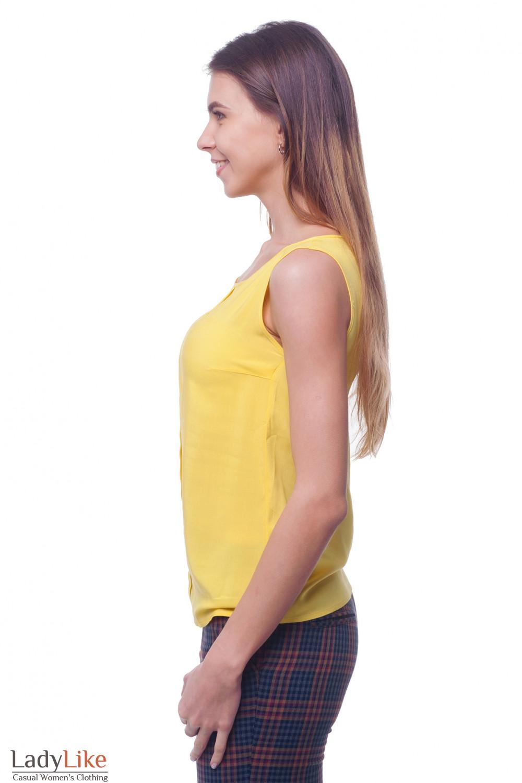 Купить желтый топ с бантовой складкой впереди Деловая женская одежда