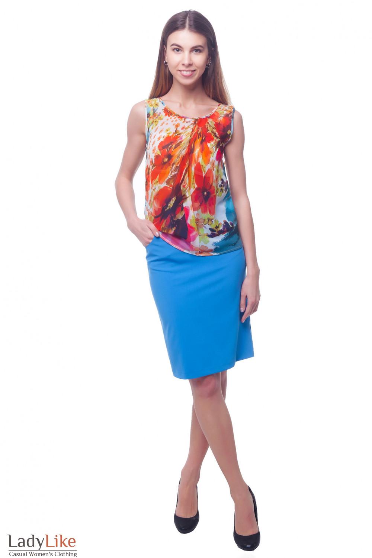 Купить юбку ярко-голубую с карманами Деловая женская одежда