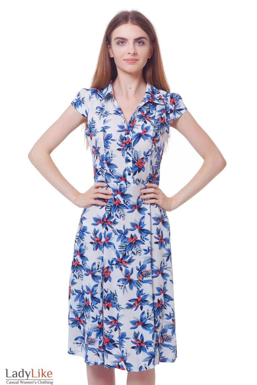 Купить платье белое в голубые цветы Деловая женская одежда