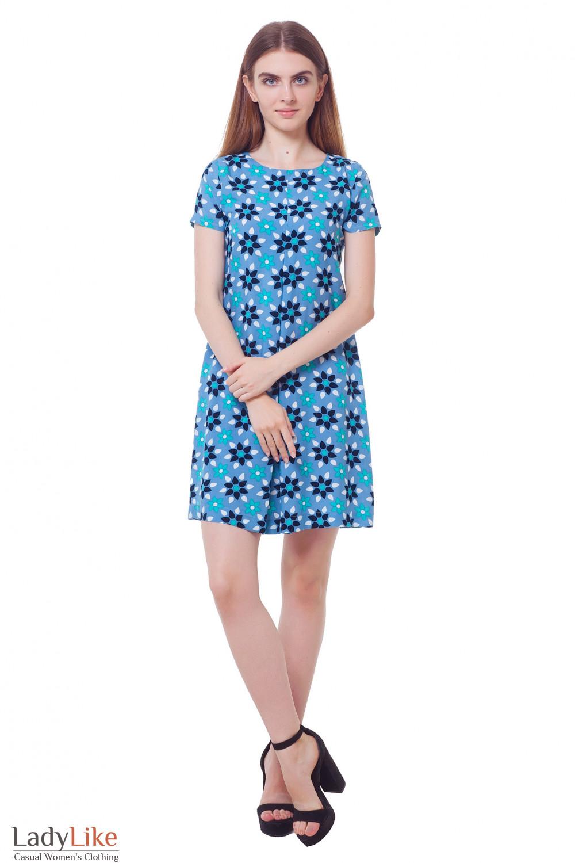 Купить платье голубое в бирюзовые листочки Деловая женская одежда