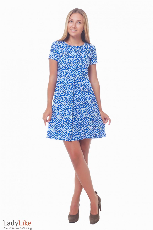 Купить платье в ромашки со встречной складкой Деловая женская одежда