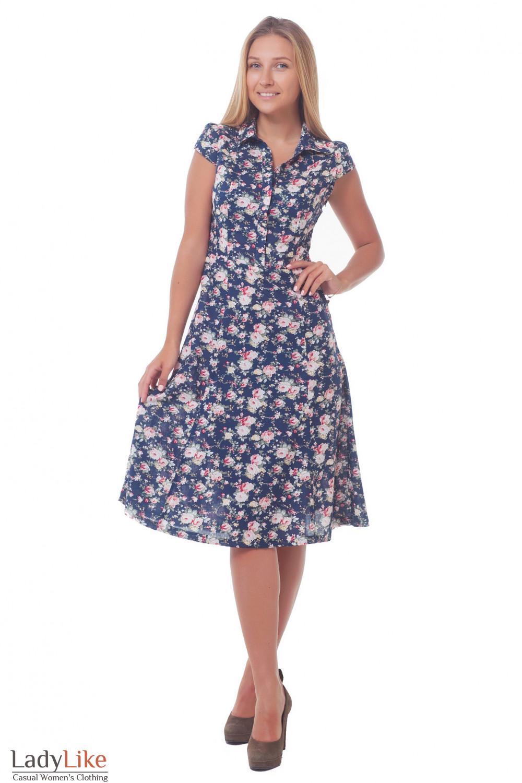Купить летенее платье синее в розы с воротником Деловая женская одежда