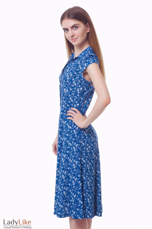 Купить синее платье в белый цветок с воротником Деловая женская одежда
