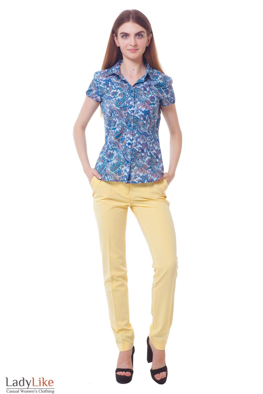 Купить брюки желтые с двойным поясом Деловая женская одежда