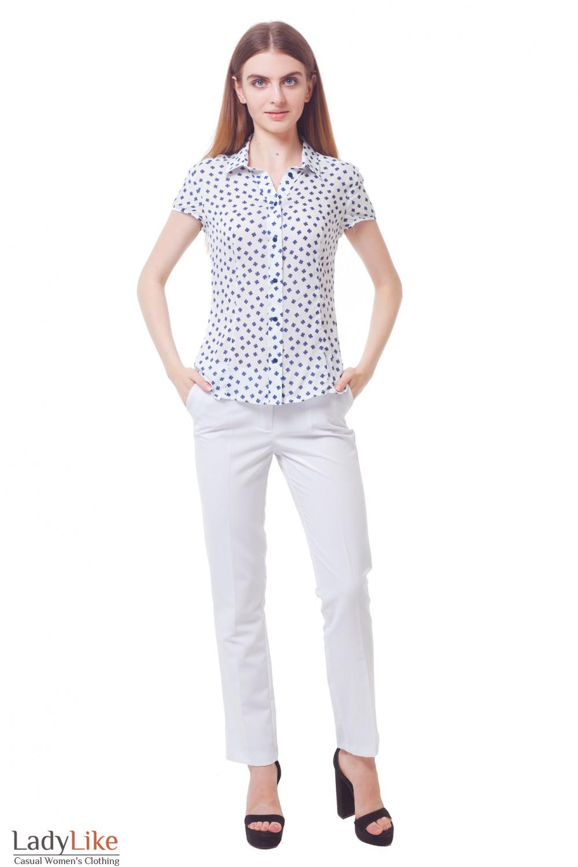 Купить брюки длиной 7/8, белые с разрезом  Деловая женская одежда