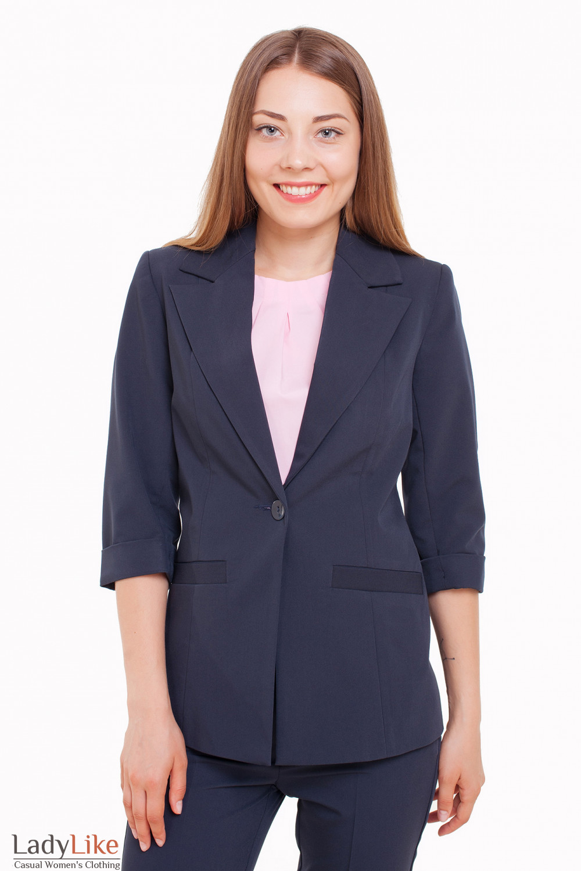 Жакет удлиненный синий с рукавом 3/4 Деловая женская одежда фото