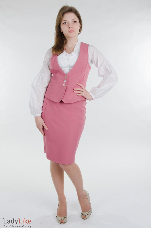 Жилет розовый приталенный Деловая женская одежда.