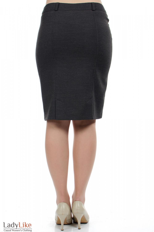 Фото Юбка серая теплая вид сзади Деловая женская одежда