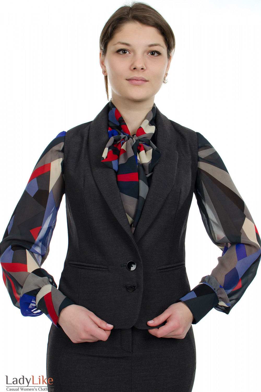 Фото Жилет теплый серый Деловая женская одежда