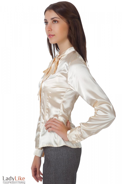 Блузка атласная с бантом купить