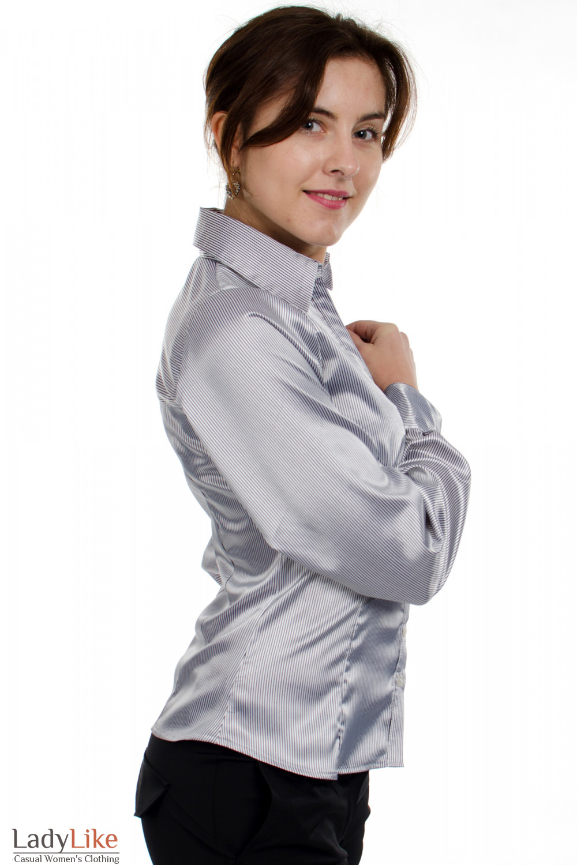 Блузка атласная в полоску вид сбоку Деловая женская одежда