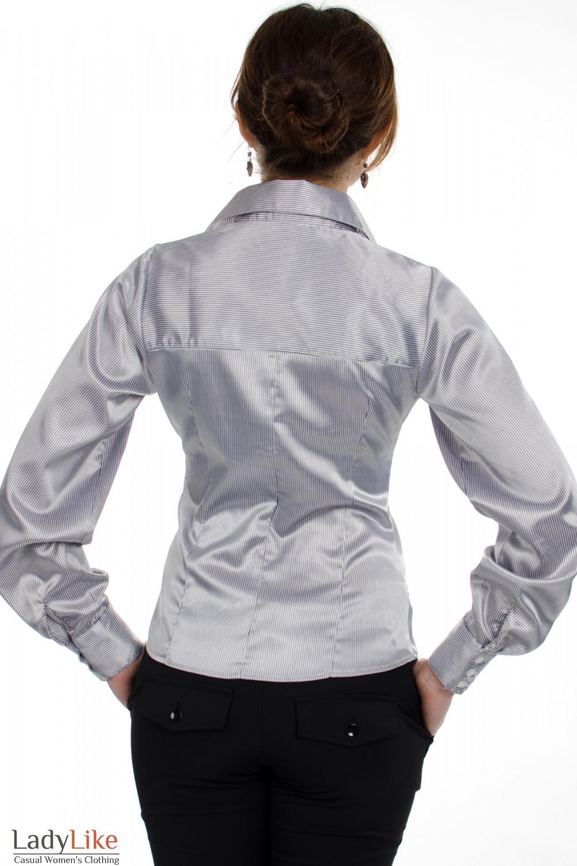 Блузка атласная в полоску вид сзади Деловая женская одежда